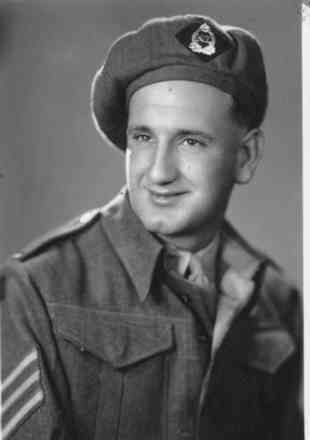 Portrait, WW2, wearing a beret and Sergeant stripes on sleeve - This image may be subject to copyright