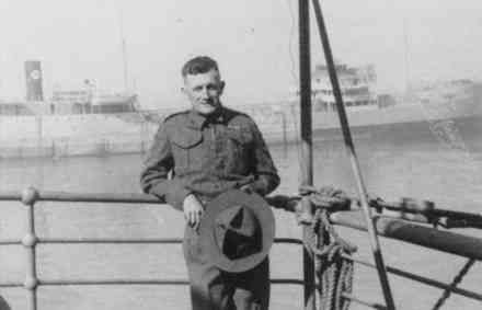 Portrait, Sergeant Huston (20267) in uniform with 3 Medal Ribbons, including the Indian General Service and Barat, age 40 en route from England to Egypt in Convoy, February 1941, on board SS City of London Union Castle Line. He was serving with NZ Artillery, 5 Field, F Troop, 28 Battery. (Collections of the Huston family) - This image may be subject to copyright
