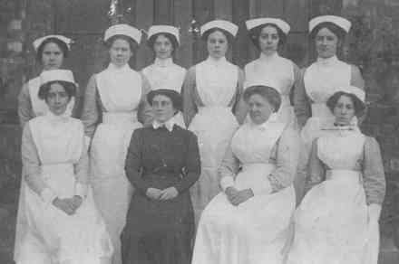 """Group of Nurses, WW1 """"Effie"""" is in the front row - far left. - This image may be subject to copyright"""
