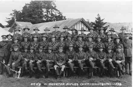 Group photo, 1939, NCO's - Mounted Rifles Camp, Whangarei - 1939. Harold Smith (4231) is back row, third from left - This image may be subject to copyright