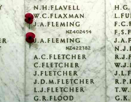 Auckland War Memorial Museum, Hall of Memories, World War 2. Panel with names: Flavell - Flood - This image may be subject to copyright