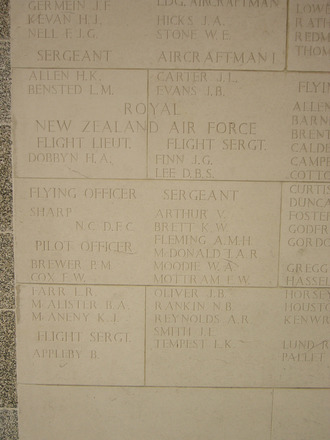 Column 421 & 422, Singapore Memorial, Kranji War Cemetery. (photo P. Lascelles, 2008) - This image may be subject to copyright