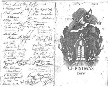 K Force, S.S. Ormonde Christmas Day 1950 menu, signed (front). (Collection of Dennis P. Larmer) - This image may be subject to copyright