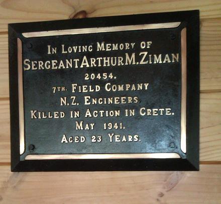 Memorial plaque, Waikumete Cemetery, Betolam, prayer house Arthur Myer Ziman (20454) (photo E. Jaffe 2012) - This image may be subject to copyright