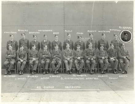 Group photograph, [Canada], 42 Course Observers, back row left to right; Emmerson, Bowers, Griffiths, Waterhouse, Poule, Jones, Mouatt, Whiteside, Windmill, Ashman (insert). Front row left to right; McCombie, O.? Davies, Holbird, Beard, H. Davies, Heatherington, Conquer, Armitage, Golding, Moore, Hazel. (Photograph from the collection of Ronald (Torchy) Moore (NZ404554)) - This image may be subject to copyright