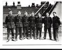 Group photograph: Crew Halifax II bomber JB962. Left to Right: Sgt P.A. (Pat) Kennedy navigator, Belfast; Sgt W.(Bill) Barry, flight engineer, Liverpool; Sgt T.S.(Tom) Payne, air gunner, London; Sgt Kenneth Forbes (Ken) Morrison, RNZAF, pilot, Christchurch NZ; Sgt Willie Cox, wireless operator, Edinburgh; Sgt Ian McCrae, bomb aimer, Edinburgh and Sgt E.W.J. (Ernie) Collingwood, air gunner, RNZAF, Christchurch NZ - This image may be subject to copyright