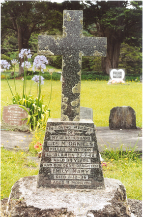 Family grave memorial, St Agnes' Catholic Churchyard, Kaihu Valley, Northland. The memorial is shared with his infant daughter's headstone. (photo Ross Beddows) - This image may be subject to copyright