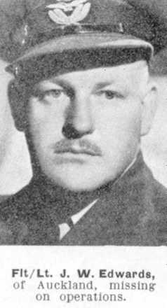 Portrait, J.W. Edwards, missing on operations, The Weekly News; 12 July 1944 - This image may be subject to copyright