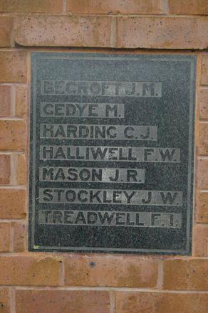Name panel beginning Becroft - Port Albert War Memorial, WW2 (digital photo John Halpin 2010) - CC BY John Halpin
