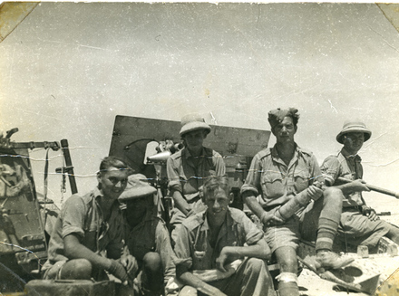 Group, WW2, A2 Gun Crew, 27th Battery, NZA. taken on the Alam Nayil Ridge: personnel: J. Christiansen, Earle Cross, L. Garland, E. Allen, R. Lovatt, Sydney Smiley - This image may be subject to copyright