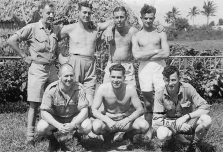 Group, soldiers in shorts Thomas Gelling is in the front row on the left. - This image may be subject to copyright