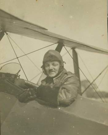 Portrait, Collett seated in Sopwith (Pup?), taken in 1917. (photo Courtesy of Mr Clive E. Collett, nephew of Captain Collett) - No known copyright restrictions