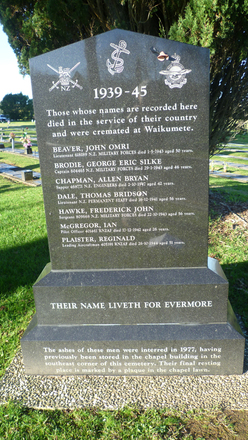Waikumete WW2 cremation memorial, Waikumete Cemetery (photo August 2012 by G.A. Fortune) - Image has All Rights Reserved