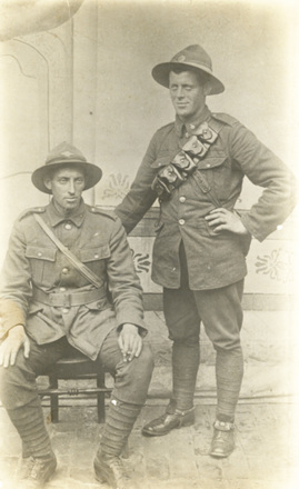 Brothers Samuel King (38037) (left) and Charles King (5/388) (right), studio portrait, postcard stamped front - No known copyright restrictions