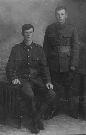 Group, 2 soldiers, brothers William Gamble (seated); James Bernard Gamble (standing) - No known copyright restrictions