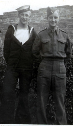 Family portrait, WW2, brothers John (Royal Navy) and Ken (270151) in uniform - This image may be subject to copyright