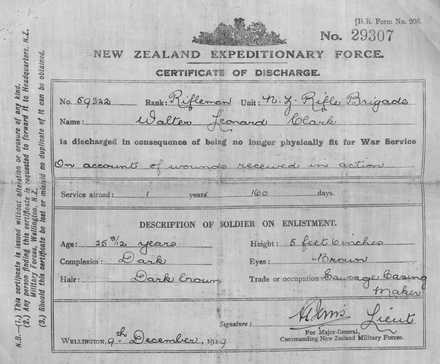 Walter Clark's discharge papers. - No known copyright restrictions