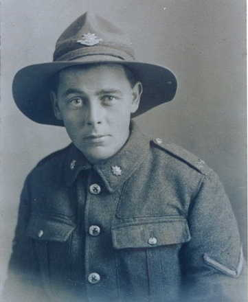 Portrait, O.E. Burton as a Lance Corporal. Taken while on leave in London from France in 1916. Photo taken by USA studio, 22 Edgeware Road, London. Image kindly provided by Burton family - No known copyright restrictions