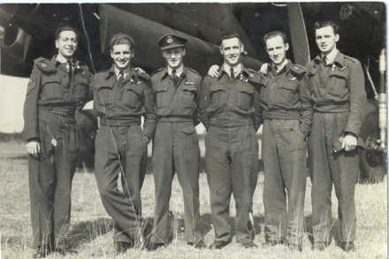 Group, WW2, 6 airmen standing in front of plane: Trevor Morley third from left, taken at Lancaster, 1945 - This image may be subject to copyright
