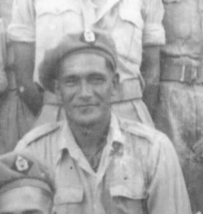 Portrait, detail from group photograph of A Company, 28 Battalion taken during WW2 from Charles (Charlie YM Collection) Bennet photograph collection - This image may be subject to copyright