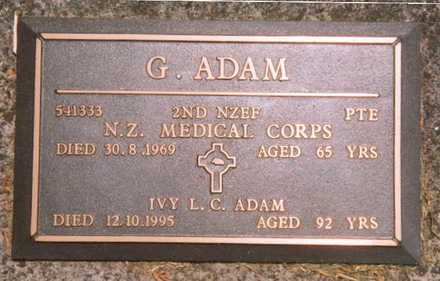 Headstone, bronze plaque, Waipu Public Cemetery (Photo P Baker 2006) - This image may be subject to copyright.