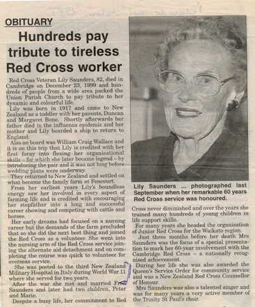 "Portrait published with her obituary ""Hundreds to pay tribute"" (source unknown, nd) - This image may be subject to copyright"