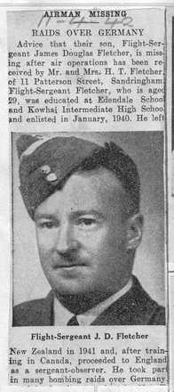 Newspaper cutting, J. Fletcher missing - This image may be subject to copyright
