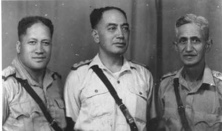 Group, WW2, Three chaplains: from Left to Right: Ngatai Tunoa Wanoa (39615), Kahi Harawira (39652), Wharetini Rangi (69291). (Photograph kindly supplied by Paul Baker) - This image may be subject to copyright