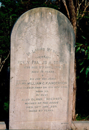 Headstone, Karori Cemetery (photo Paul Baker 2007) - No known copyright restrictions