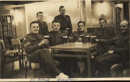 Group of soldiers of 2 Divisional Signals, taken on board Orcades in 1940 en route to Egypt. From left to right, Sergeant Don Schofield, Sergeant Clive Sheldon, Sergeant Jack Snow, Sergeant Major Reg Foubister, Sergeant? McReady, Sergeant Sid (Cedric) Pierce, Sergeant? Russell. - This image may be subject to copyright