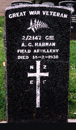 Gravestone, Karori Cemetery (photo Paul F. Baker) - No known copyright restrictions