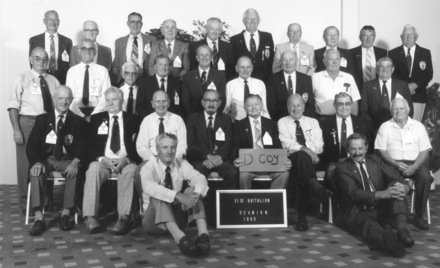 21 Battalion Reunion, D Company 1990. Photograph includes Joseph Glenn (provided by family) - This image may be subject to copyright.