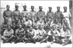 Group of soldiers (28 Maori Battalion) in uniform. Willie Paki is in the middle row, third from left. (supplied by Paul Baker) - This image may be subject to copyright