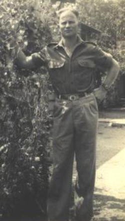 Portrait, WW2, taken in a garden, Henry (Harry) William Mohr, 1943c - This image may be subject to copyright