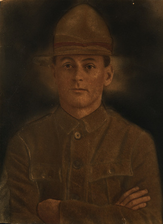 Portrait, a painting by Diamond and Hart Ltd., Folio 84/945. Commissioned by Mrs E. Dudley, 22 Nikau Street, New Lynn, August 1947. Painting based on a photograph of George Dudley. Instructions on back of painting include: Description: Hair Dark Auburn, Eyes Light Brown, Black Eyebrows, fair complexion. Dress Khaki uniform and hat, khaki pugaree with red stripe. Brass buttons if possible. Signed by Agent J.H. Catterall. The original is held in the Museum Library. - No known copyright restrictions