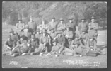 Group photograph, WW1, 22 Platoon, D Coy, 6th Reinforcements, 1915, Trentham, NZ . C Allen photo. (front). Photograph marked with X on back Gerald Ireland Black back row, 3rd from right - No known copyright restrictions