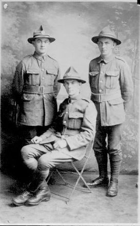 Image of John Daniel (seated) with brothers Bill and Steve, provided by Bruce Ralston, grandson. - No known copyright restrictions