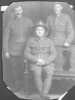 Group, WW1, three soldiers, Oscar William Davis (9/1666) centre, studio portrait, postcard stamped, divided, not posted (kindly provided by family) - No known copyright restrictions