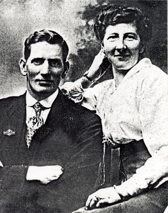 Portrait of William Charles Johnson and his wife Margaret Johnson. William is wearing a RSA badge on his coat lapel. (kindly provided family) - No known copyright restrictions