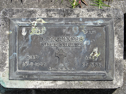 Headstone, Dare McGuiness, Helensville Cemetery (photo provided by Sarndra Lees 2012) - Image has All Rights Reserved.