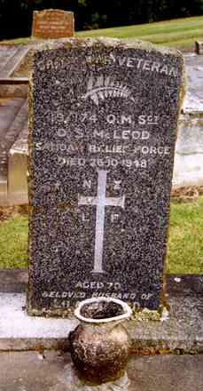 Headstone, Havelock North Cemetery (photo G.A. Fortune in 1999) - Image has All Rights Reserved