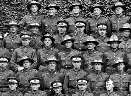 Detail of group portrait of NCOs, July 1917 including Ruakirikiri Pakura, third row from back, third from right. - No known copyright restrictions