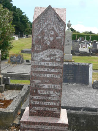 Headstone, Hawera Cemetery (photograph from family) - No known copyright restrictions