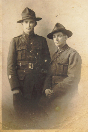 Brothers sitting Arthur Conlon (26/731) and standing Elmer James Conlon (26/730), studio portrait (photo kindly provided by family) - No known copyright restrictions