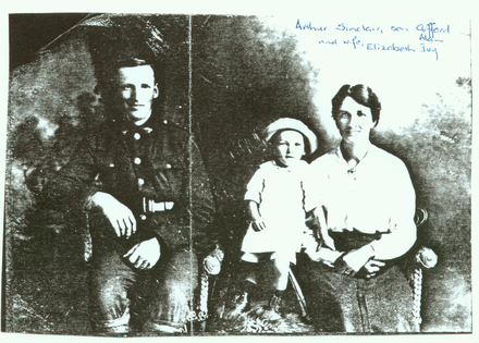 Family group, Arthur Sinclair (36367) in uniform and his wife, Elizabeth Ivy Sinclair and son Clifford Alan Sinclair (kindly provided by family) - No known copyright restrictions