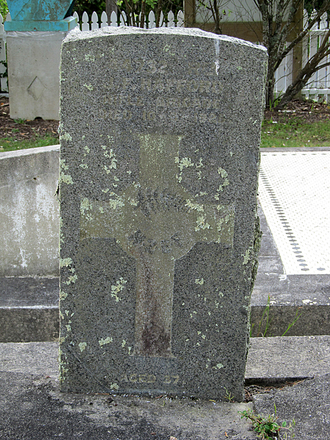 Memorial headstone, James Francis Hafford, Helensville Cemetery (photo provided by Sarndra Lees 2012) - Image has All Rights Reserved.