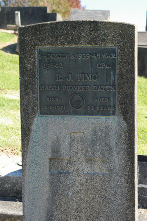 Headstone of R.J. TIMO 19648, of the Maori Pioneer Battalion, WW1 and service in WW2, at Albany Village Cemetery - This image may be subject to copyright