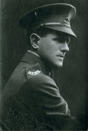 Portrait, studio photograph, profile view, shoulder badge and cap badge shown - No known copyright restrictions