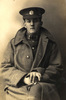 Portrait, Walter McDonald WW1 in uniform, cap, great coat - No known copyright restrictions