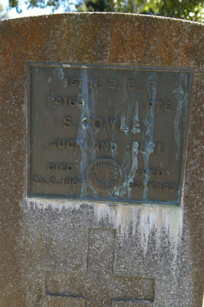 Headstone of S. COWLEY 74163 at Albany Village Cemetery - No known copyright restrictions